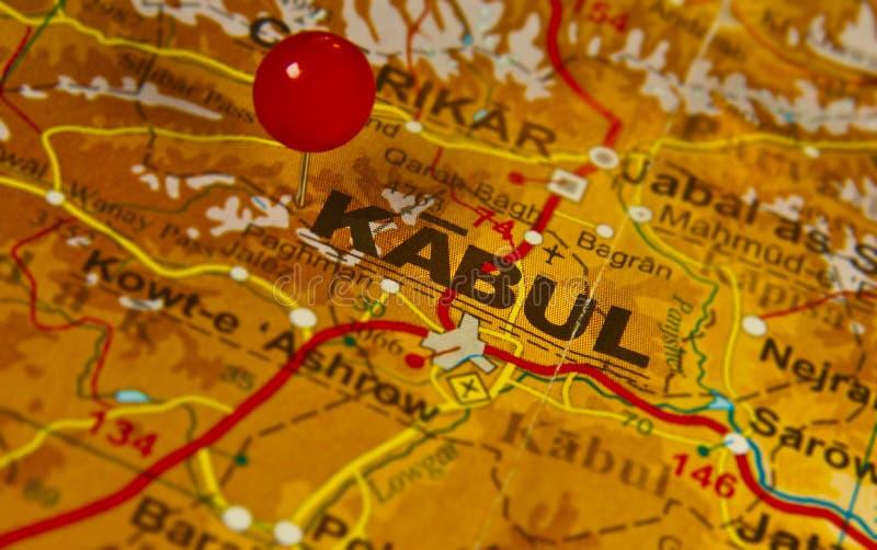 Een kaart van Kaboel, Afghanistan stock foto's