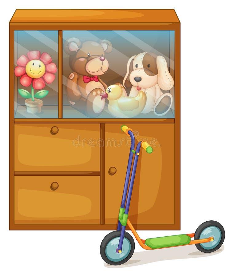 Een kabinetshoogtepunt van speelgoed bij de rug van een autoped vector illustratie