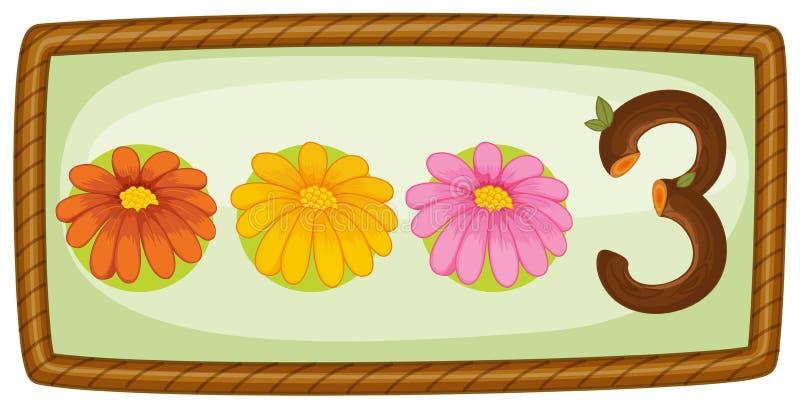 Een kader met drie bloemen royalty-vrije illustratie