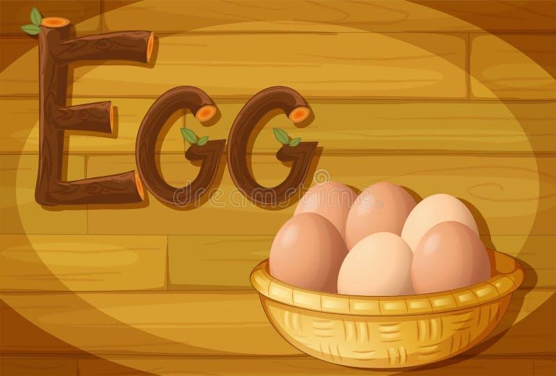 Een kader met een mand van eieren vector illustratie
