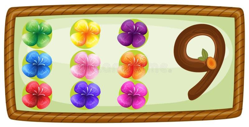 Een kader met negen bloemen stock illustratie