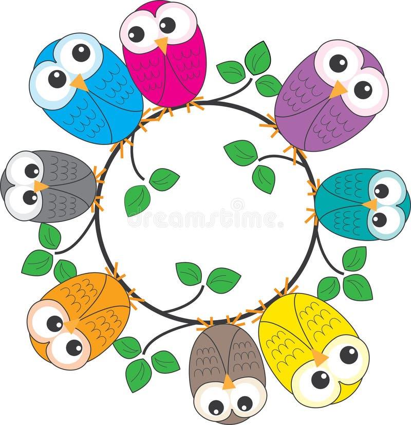 Een kader van kleurrijke uilen royalty-vrije illustratie