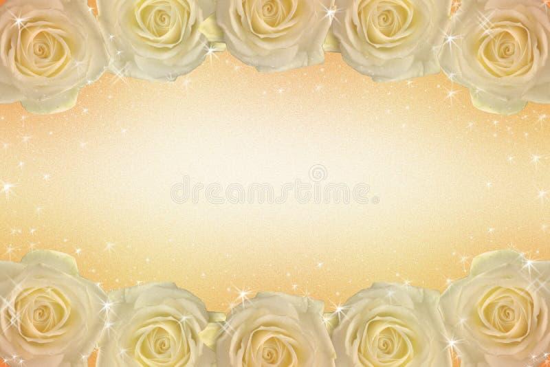 Een kader van rozen in gouden tonen stock illustratie