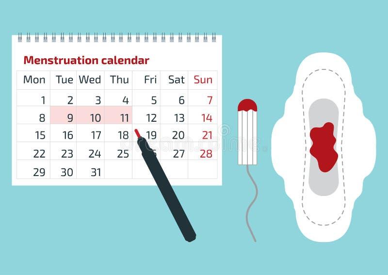 Een kalender met de menstruele dagentekens en het menstruele stootkussen met bloed dalen Vectorillustratie van de kalender van de royalty-vrije illustratie