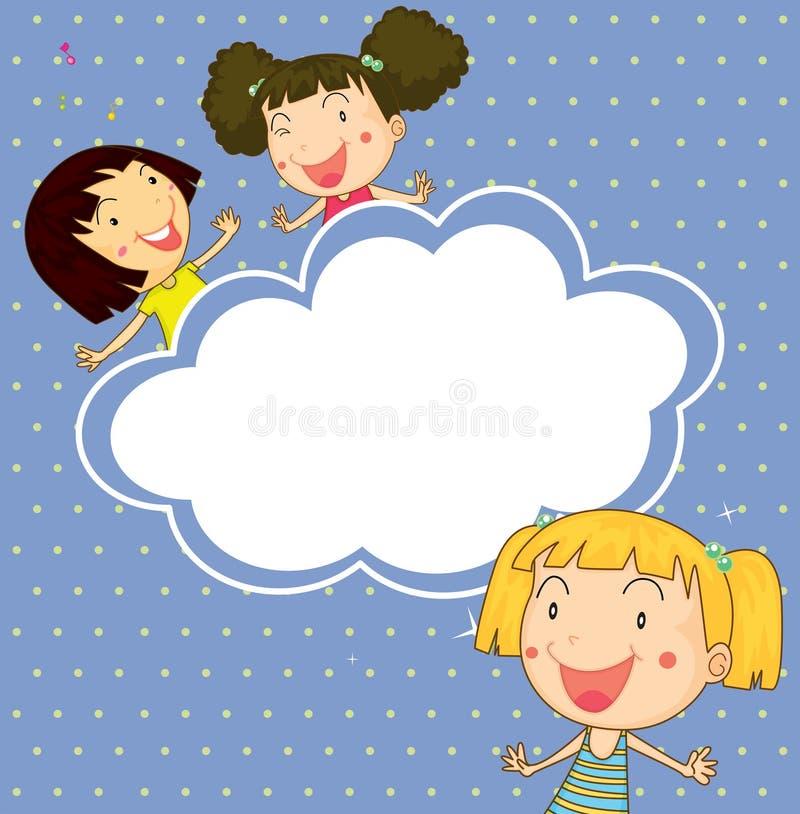 Een kantoorbehoeften met drie speelse jonge meisjes royalty-vrije illustratie