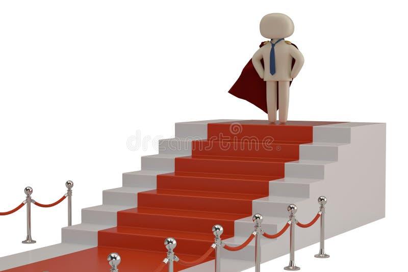 Een karakter op het podium met rood die tapijt op witte rug wordt geïsoleerd stock illustratie