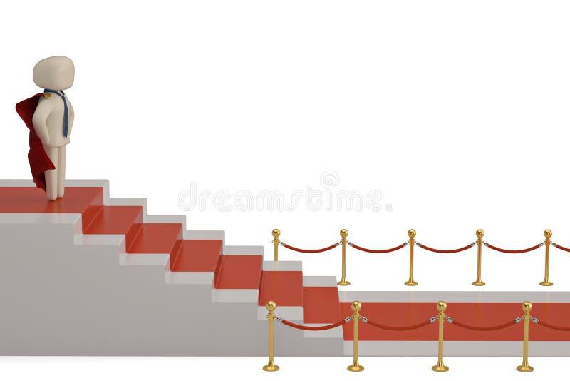 Een karakter op het podium met rood die tapijt op witte rug wordt geïsoleerd vector illustratie