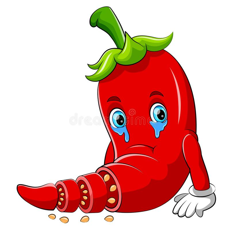 Een karakter van het Spaanse peper droevig beeldverhaal stock illustratie