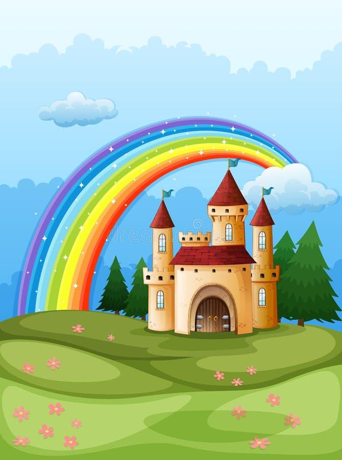 Een kasteel bij de heuveltop met een regenboog stock illustratie