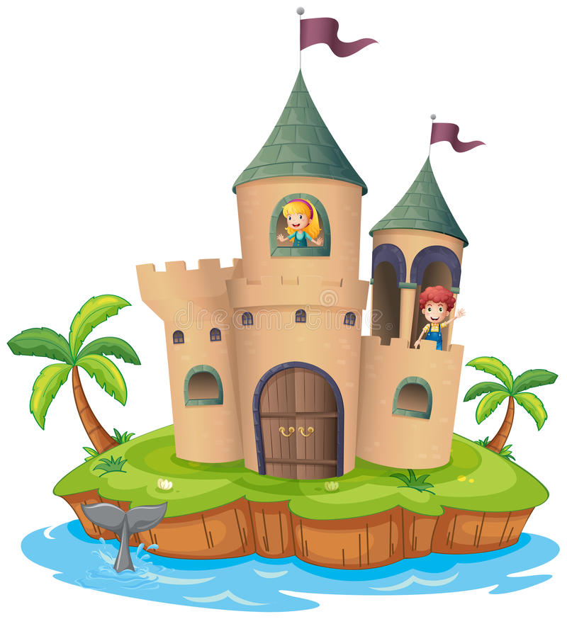 Een kasteel in een eiland royalty-vrije illustratie