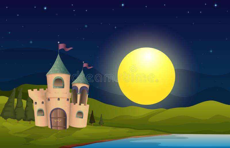Een kasteel in het midden van de heuvel royalty-vrije illustratie