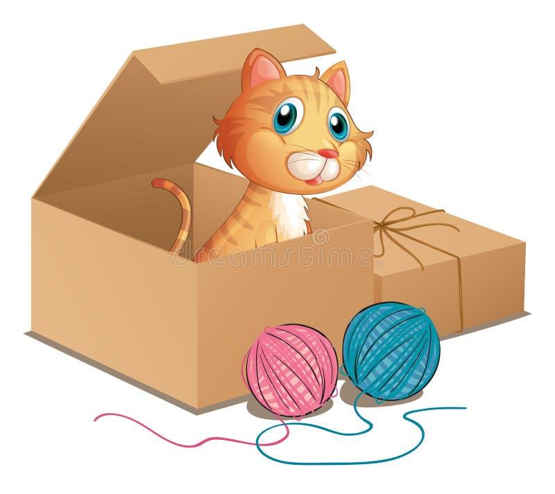 Een kat binnen de doos vector illustratie