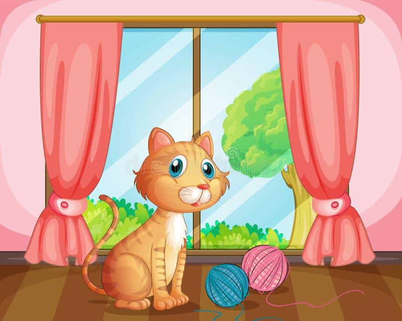 Een kat dichtbij het venster stock illustratie