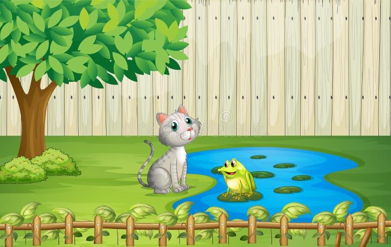 Een kat en een kikker binnen de omheining stock illustratie