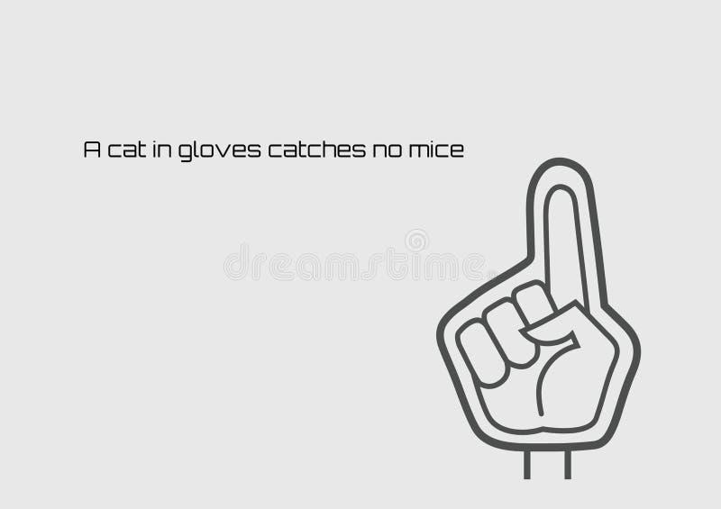 Een kat in handschoenen vangt geen muizen stock illustratie