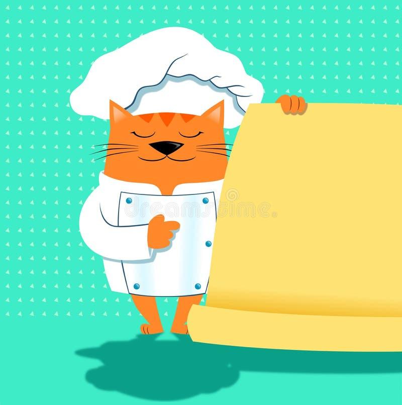 Een kattenchef-kok met menu stock illustratie