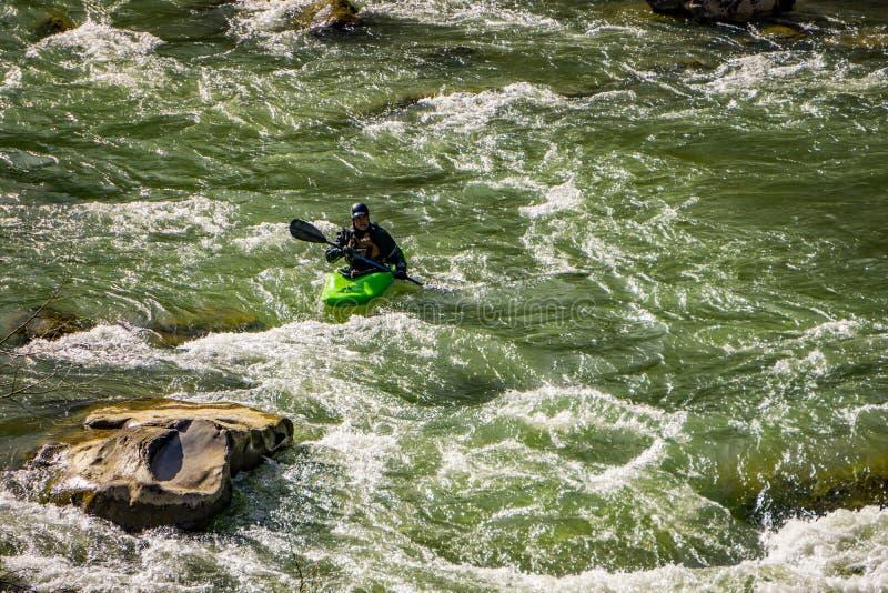 Een Kayaker op Murray River royalty-vrije stock fotografie