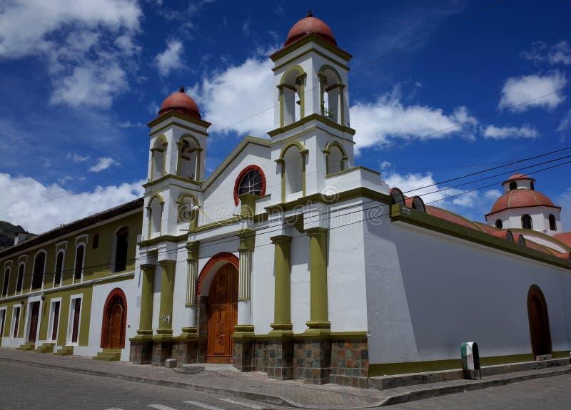 Een kerk in de stad van Sigchos royalty-vrije stock afbeeldingen