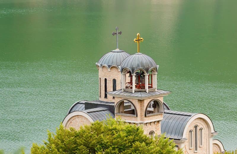 Een kerk dichtbij Ohrid-meer in Macedonië royalty-vrije stock afbeelding