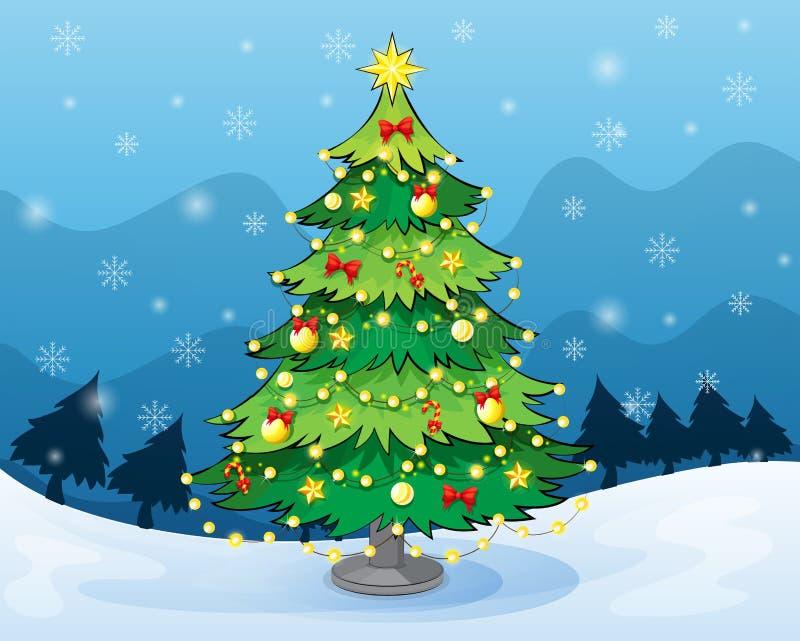 Een Kerstmisboom in het midden van het sneeuwland vector illustratie