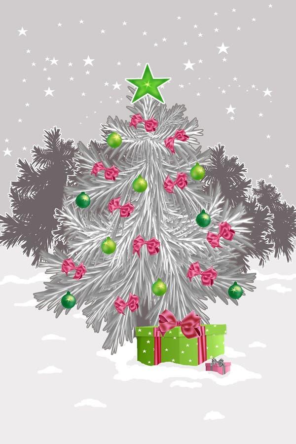 Een Kerstmisboom met cristmasballen een illustratie stock afbeelding