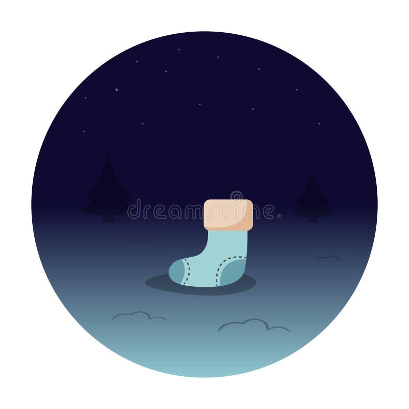 Een Kerstmissok in een donkerblauwe die cirkel, op een witte achtergrond wordt geïsoleerd Vector illustratie stock illustratie