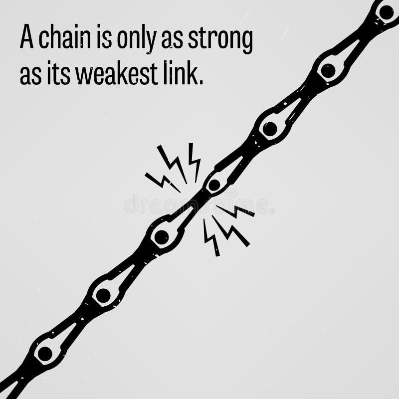 Een ketting is slechts sterk zo zoals zijn zwakste link royalty-vrije illustratie