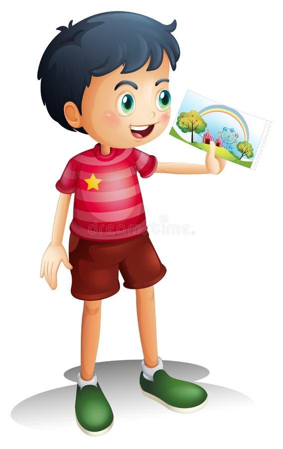 Een kind die een beeld houden stock illustratie