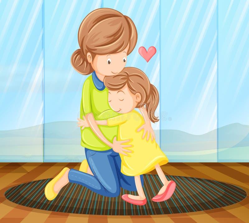 Een kind die haar moeder koesteren stock illustratie