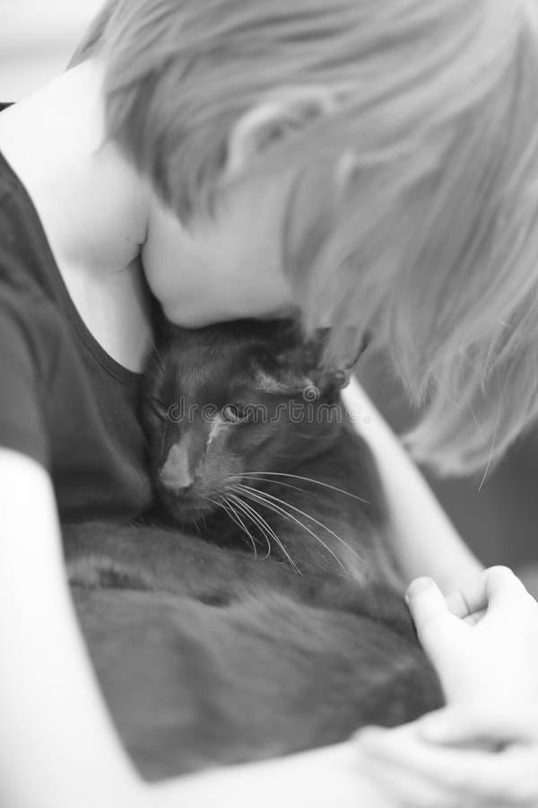 Een kind met een kattenras Oosterling royalty-vrije stock fotografie