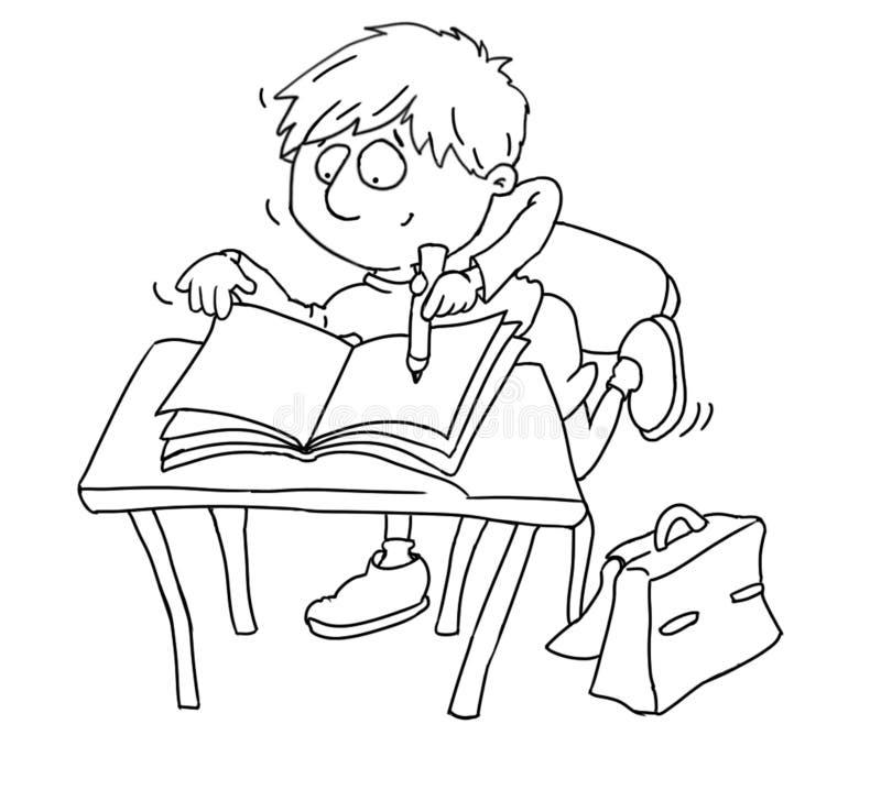 Een kind schrijft in zijn notitieboekjeruggegraat die voor jonge geitjes kleuren vector illustratie