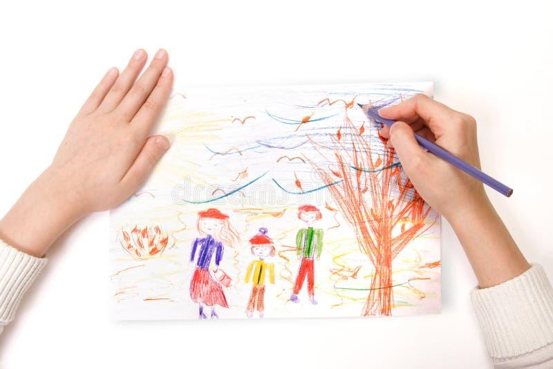 Een kind trekt royalty-vrije stock afbeelding