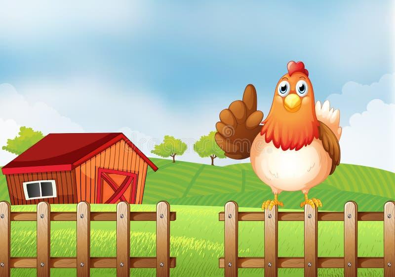 Een kip boven een houten omheining bij het landbouwbedrijf royalty-vrije illustratie