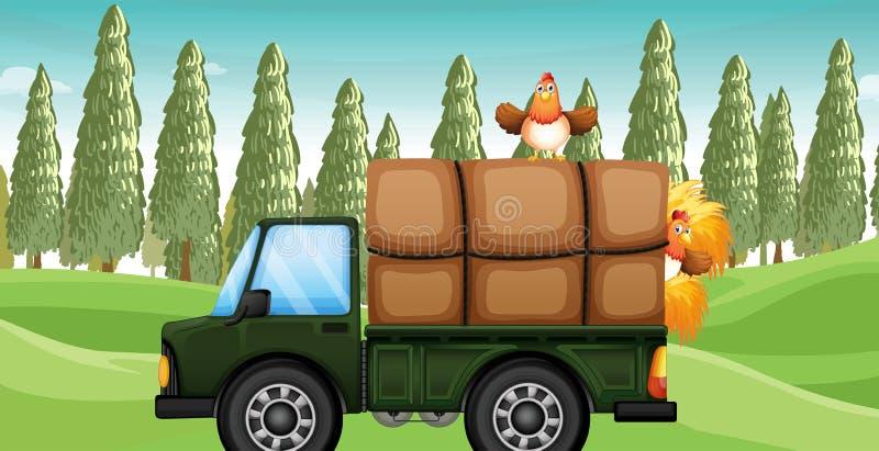 Een kip boven een vrachtwagen royalty-vrije illustratie