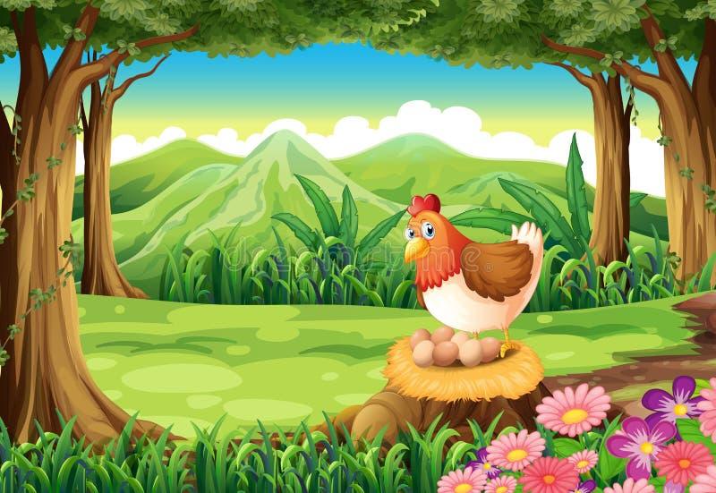 Een kip die eieren leggen bij het bos stock illustratie