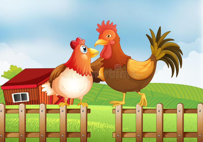 Een kip en een haan boven de omheining met een blokhuis bij B royalty-vrije illustratie