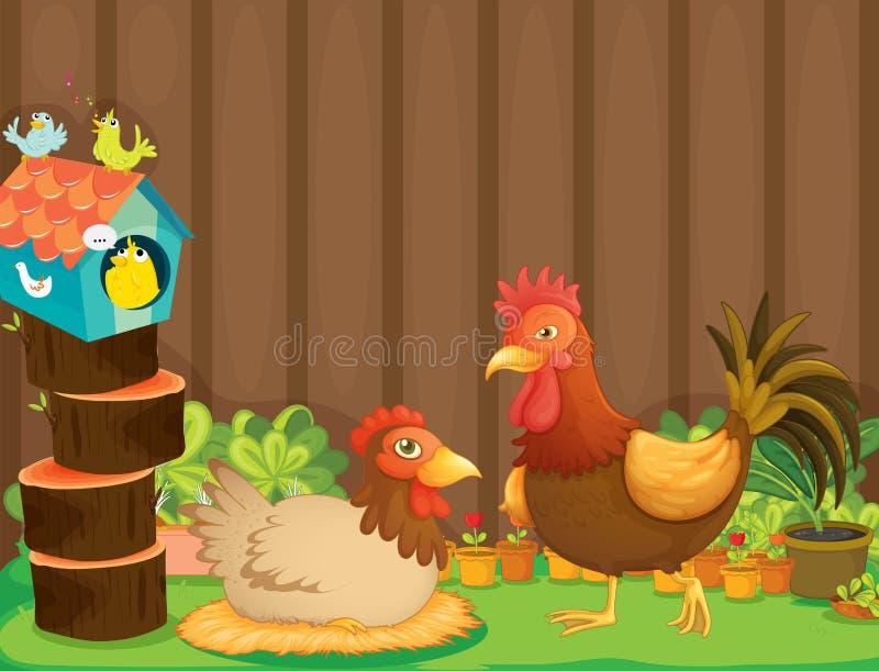 Een kip en een haan naast het vogelhuis royalty-vrije illustratie