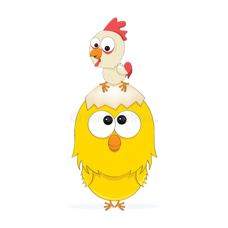 Een Kip en een Kuiken vector illustratie