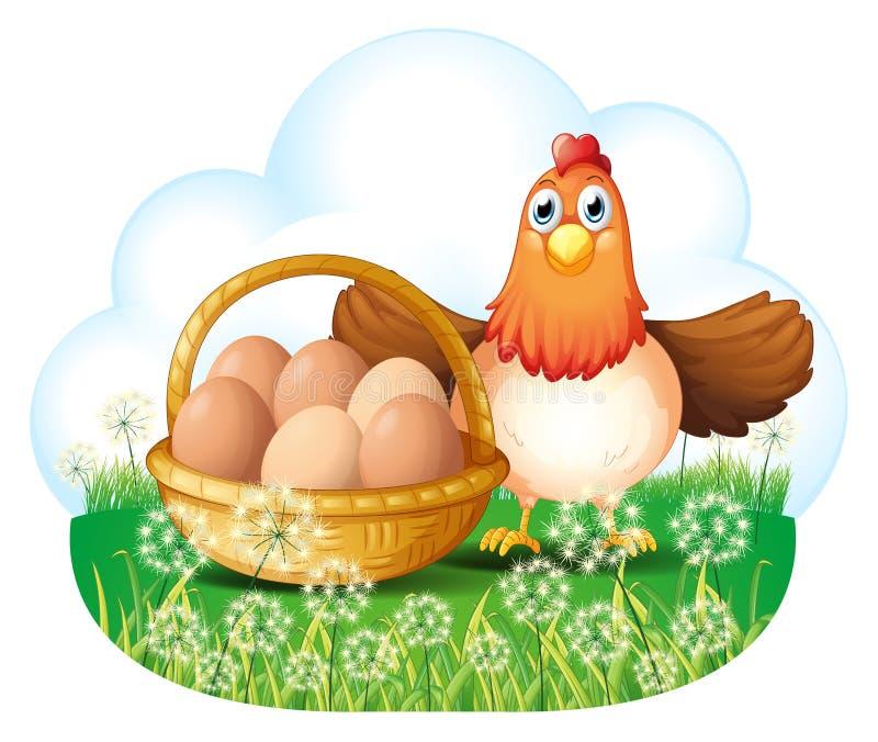 Een kip met eieren in een mand vector illustratie