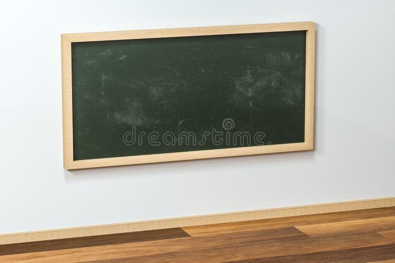 Een klaslokaal met een bord in de voorzijde van de ruimte, het 3d teruggeven stock illustratie