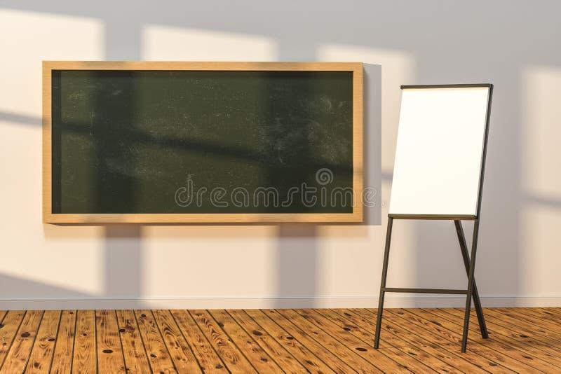 Een klaslokaal met een bord in de voorzijde van de ruimte, het 3d teruggeven vector illustratie
