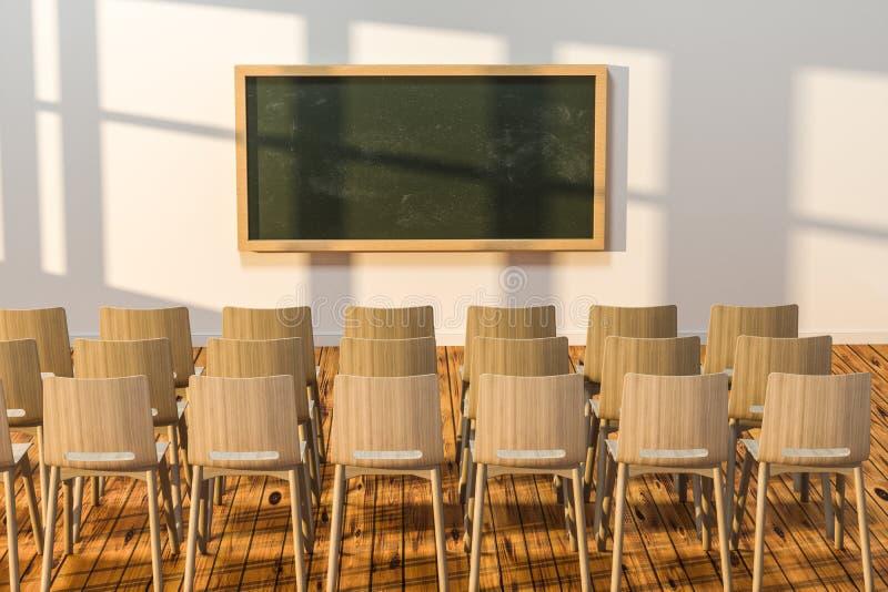 Een klaslokaal met stoelen binnen en een bord in de voorzijde van de ruimte, het 3d teruggeven stock illustratie