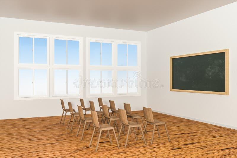 Een klaslokaal met stoelen binnen en een bord in de voorzijde van de ruimte, het 3d teruggeven royalty-vrije illustratie