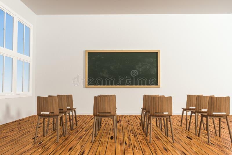 Een klaslokaal met stoelen binnen en een bord in de voorzijde van de ruimte, het 3d teruggeven vector illustratie