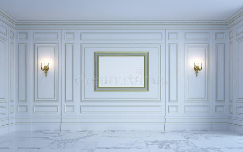 Een klassiek binnenland is in lichte tonen het 3d teruggeven royalty-vrije illustratie