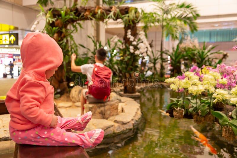 Een klein babykind in het leven koraal hoodie zit bij de luchthaven Meisjeszuigeling die zorgvuldig op de vissen in het aquarium  stock afbeeldingen