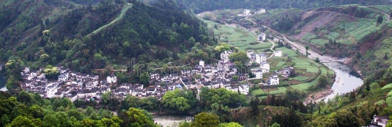 Een klein dorp in Onderstel Huangshan, China, wordt genoemd Hongcun, enkel zoals de schoonheid van landschap het schilderen royalty-vrije stock fotografie