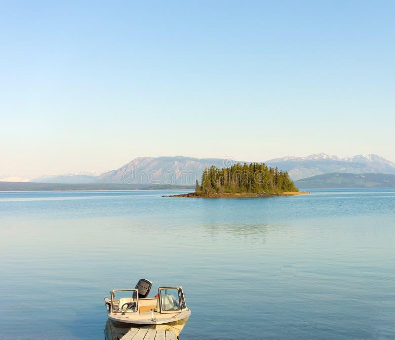 Een klein eiland op een zoetwatermeer in norther BC stock fotografie