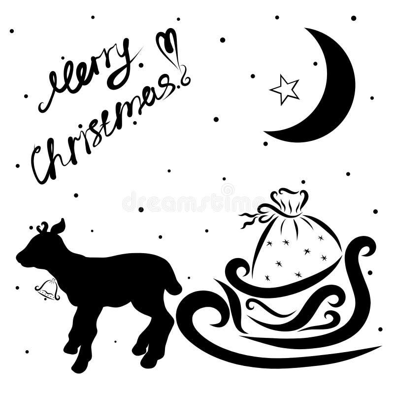 Een klein hert met een klok draagt Kerstman` s ar met giften, een CH vector illustratie