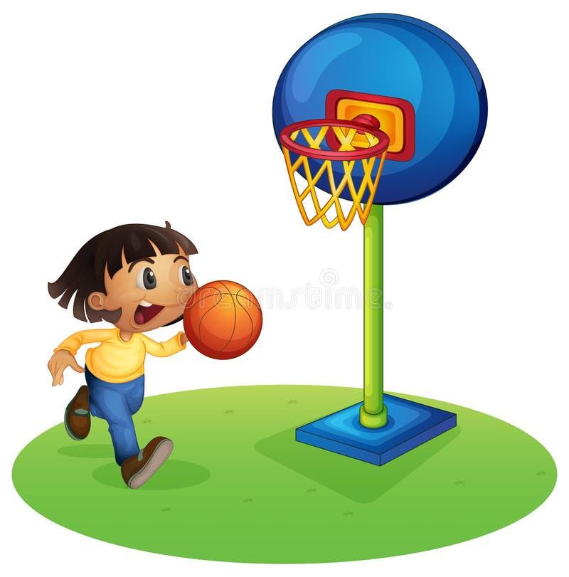 Een klein jongens speelbasketbal vector illustratie